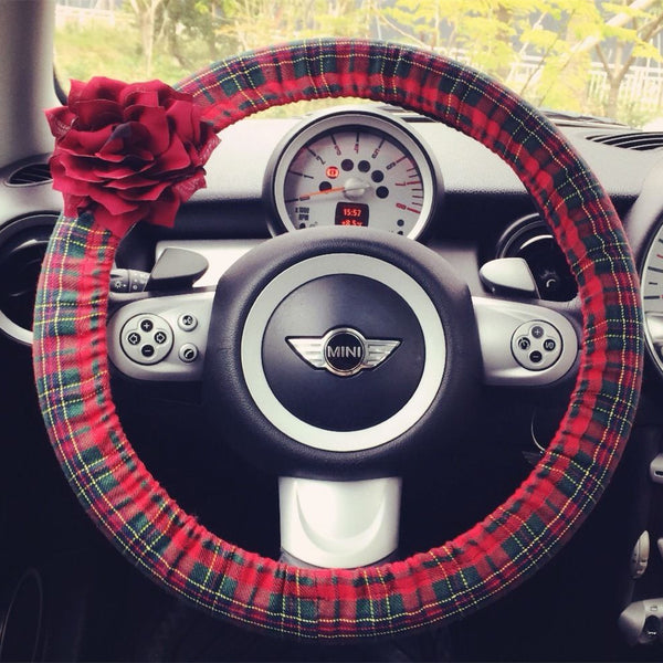Red Tartan Steering wheel cover with Chiffon Flowers - Carsoda