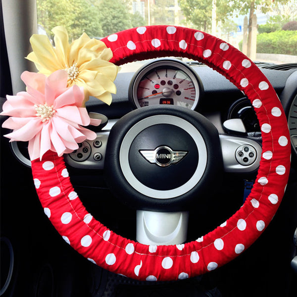 Red Polka Dots Steering wheel cover with Chiffon Flowers - Carsoda - 1