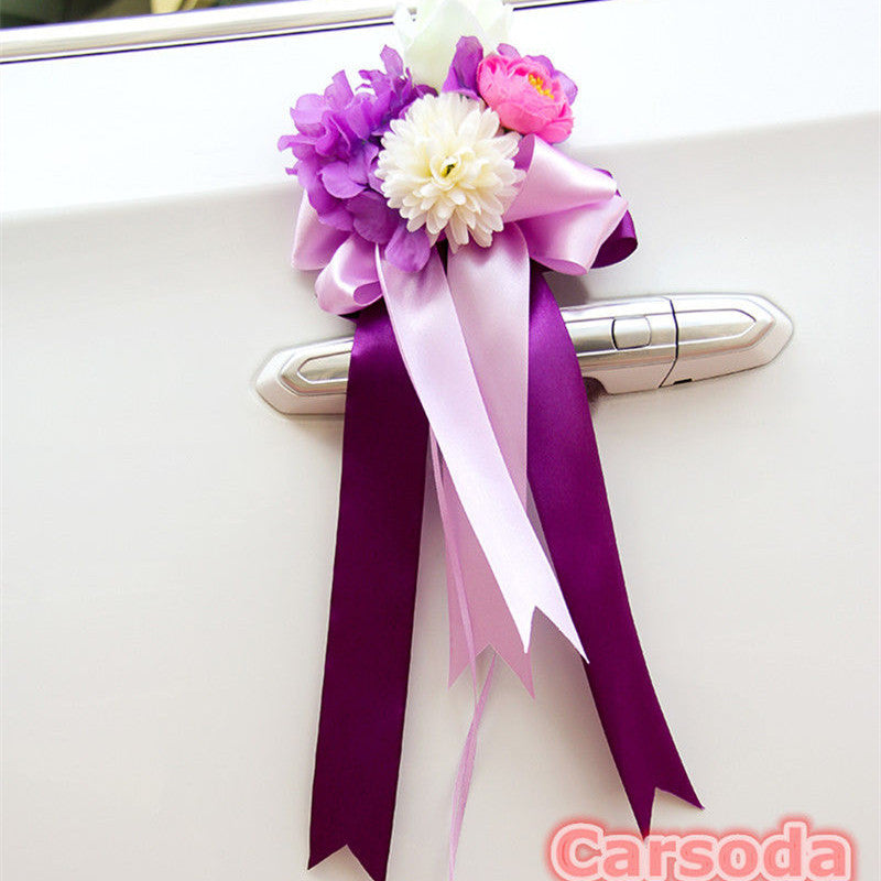 Just Married Car Decoration- Purple Flowers and Bow for Wedding Limousine Door Side - Carsoda - 1