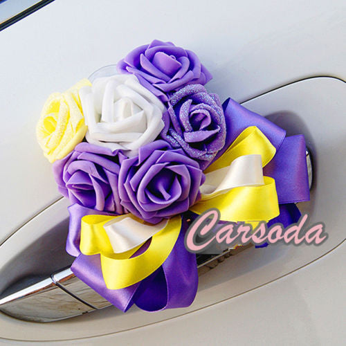 Wedding Car Decoration- Heart Shape Roses Ribbon for Limousine Door Side - Carsoda - 1