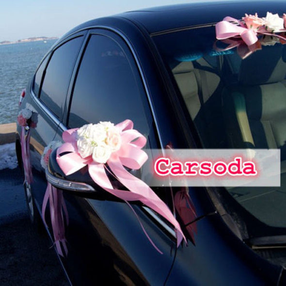 Just Married Car Decoration- Heart Shaped Flowers and Bow for Wedding Limousine Door Side - Carsoda - 1