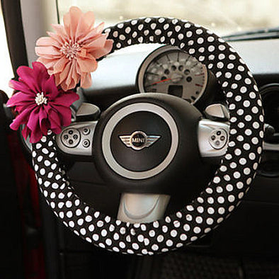 Small Polka Dots Steering wheel cover with Chiffon Flowers - Carsoda - 1