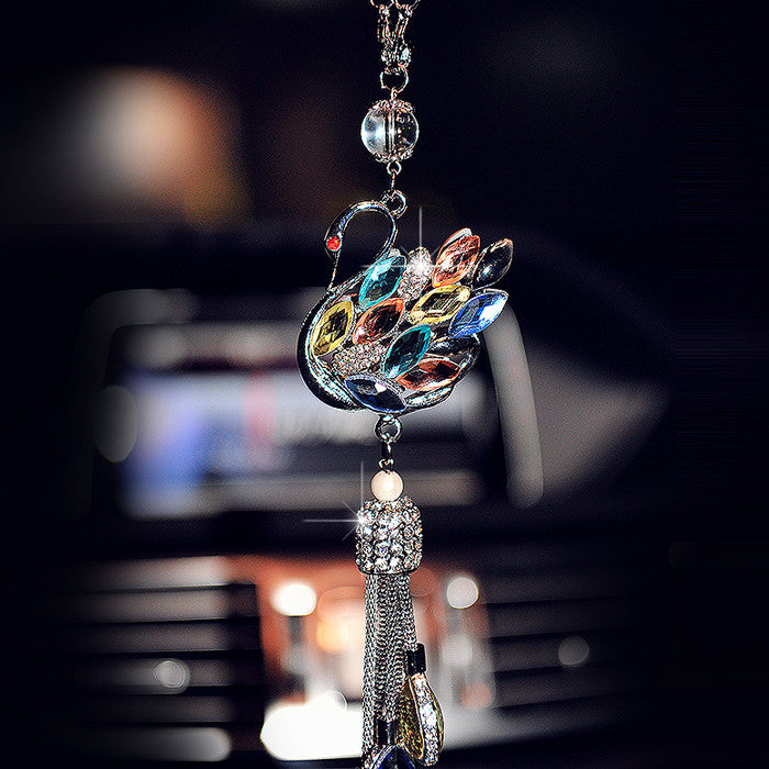 Car Charm-Bling Rhinestones Crystal Swan Rear View Mirror Ornament - Carsoda - 1