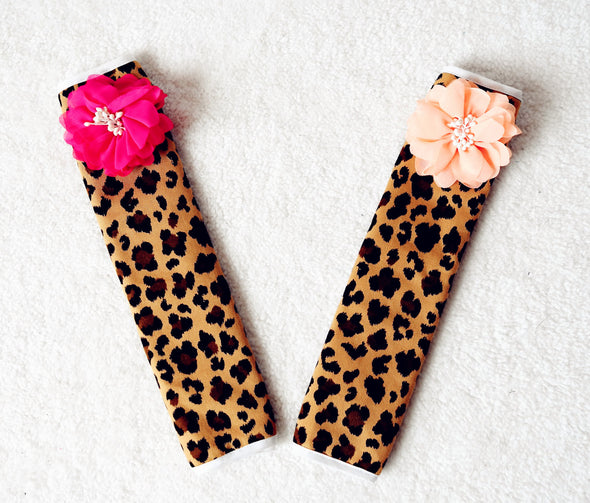 Leopard Seat Belt Cover with Flowers (2X) - Carsoda