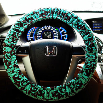 Teal Damask Steering wheel cover - Carsoda