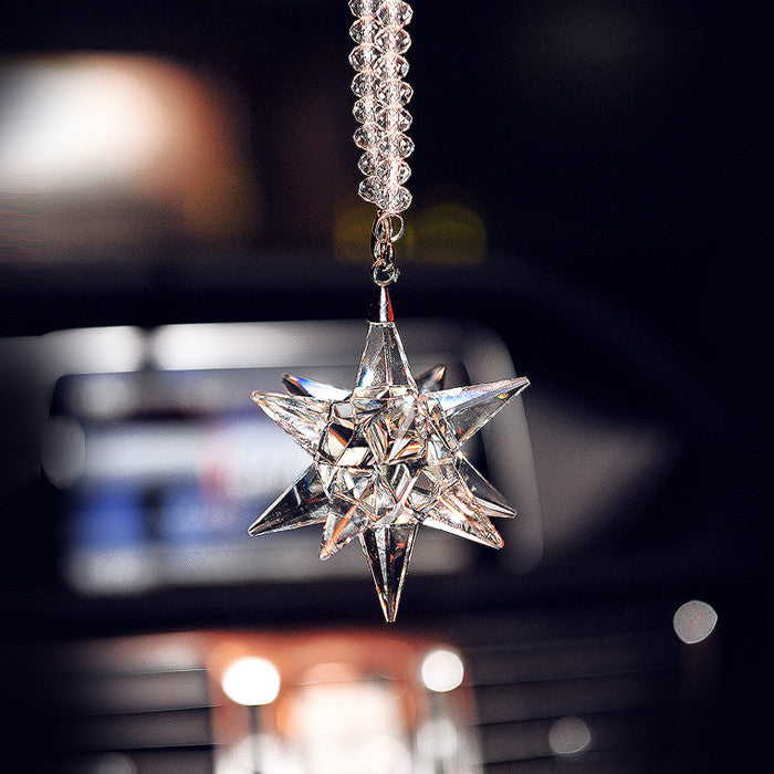 Hanging Car Charm Ornaments-Bling Snowflake Mirror Pendant - Carsoda