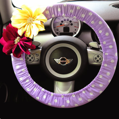 Violet Polka Dots Steering wheel cover with Chiffon Flowers - Carsoda