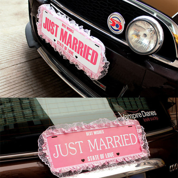 Just Married Wedding Gateway Car License Plate with Ruffles - 8 Designs - Carsoda - 1