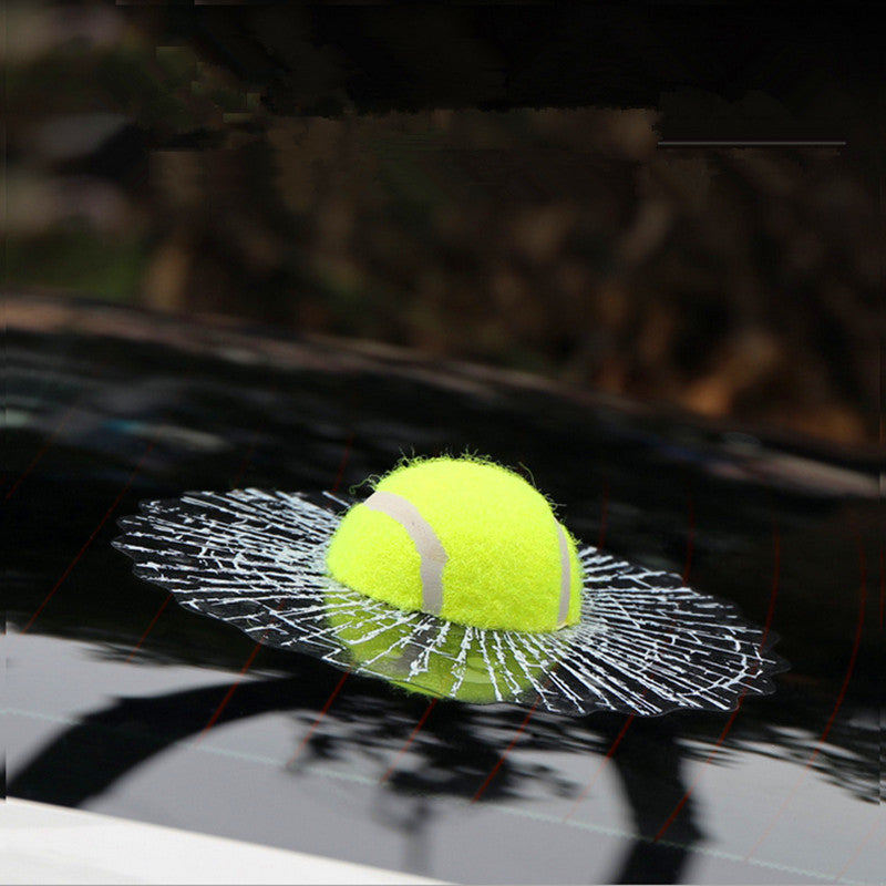 Funny WHO DID IT 3D Tennis Ball Broken Window Car Decal Vinyl Sticker for mini beetles - Carsoda