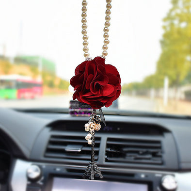 Car Mirror Charm-Flower and Eiffel Towel Rear View Mirror Pendant - Carsoda - 1