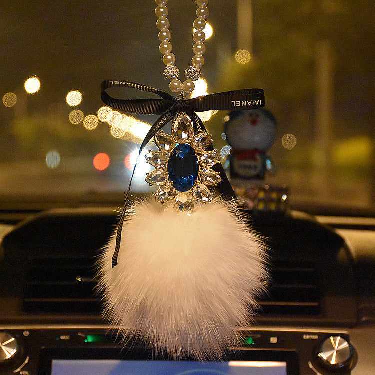 Car Mirror Charm-Crystal Cameo and Fur Ball Rear View Ornament - Carsoda