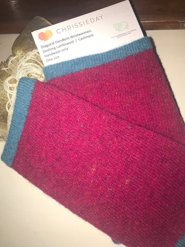 Diagonal knit Lambswool Hand warmers