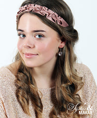 Headband antique pink silk