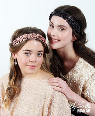 Headband lace black and beige
