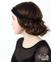 Headband black silk