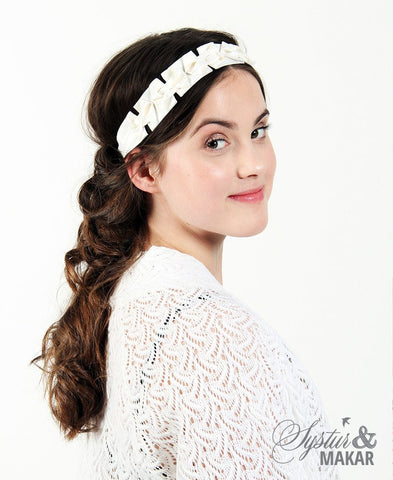 Headband white silk