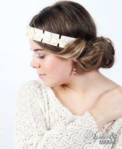 Headband off white silk