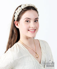 Headband off white and gold cotton