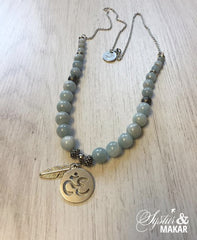 Agate ohm necklace and bracelet
