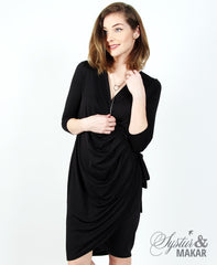 Bylgja - black wrap dress
