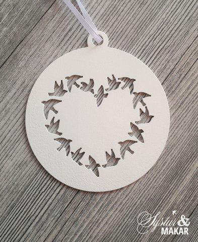 Bird heart ornament