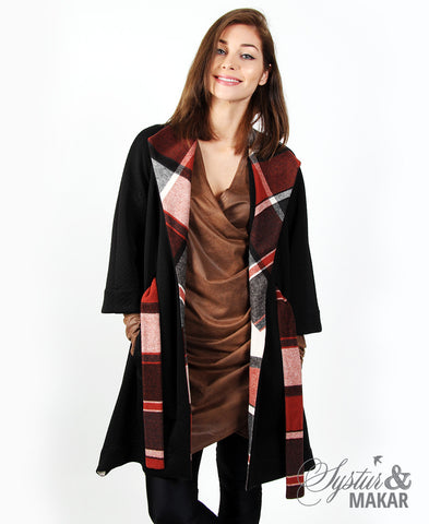 Keila black with rustic plaid