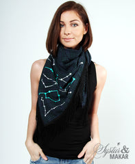 Scarf- blue plaid with zodiac signs