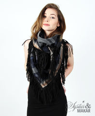 Huge scarf blue plaid