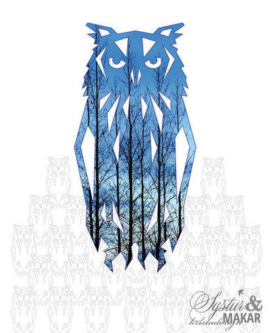 Origami gift card - owl trees blue