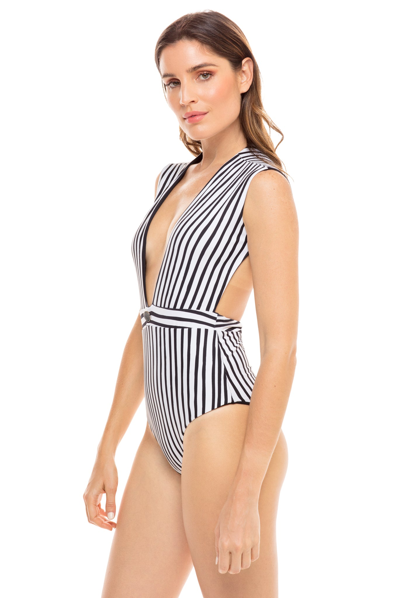 Emery cap sleeve one piece in black and white stripe. Model shot side
