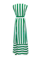 Audrey sleeveless maxi cover-up in green and white stripes - product shot back