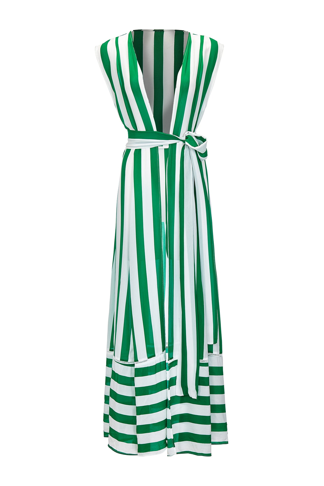 Audrey sleeveless maxi cover-up in green and white stripes - product shot