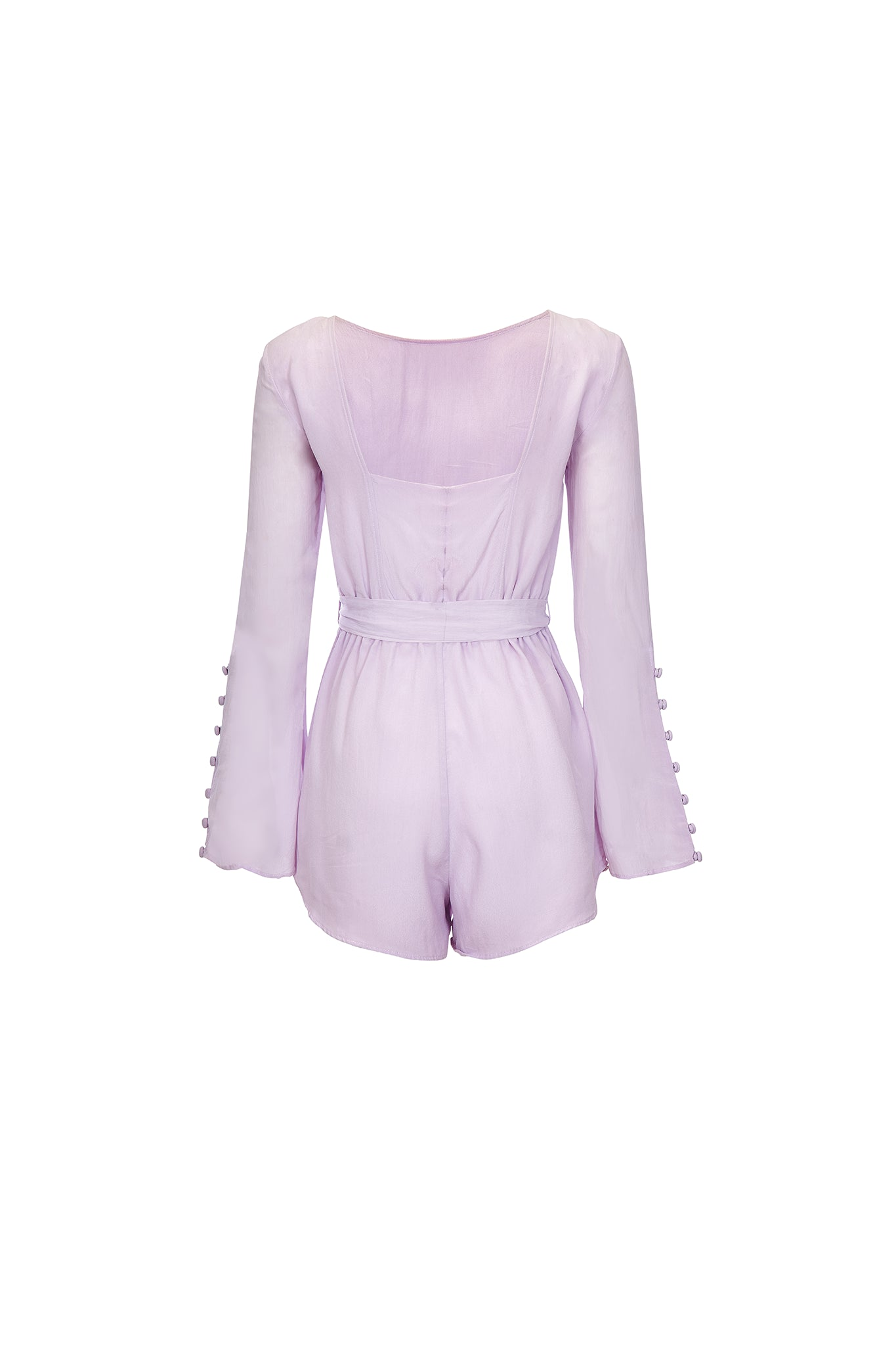 Belle long-sleeve romper in lavender - product shot back