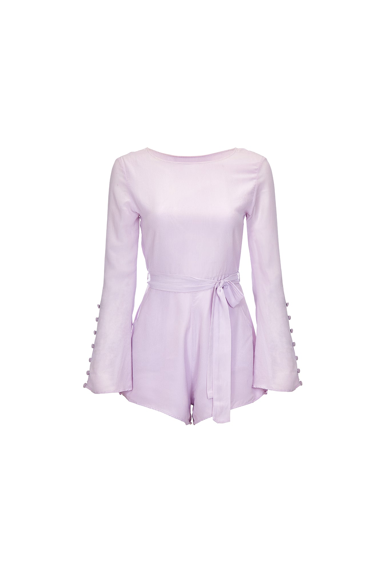 Belle long-sleeve romper in lavender - product shot front