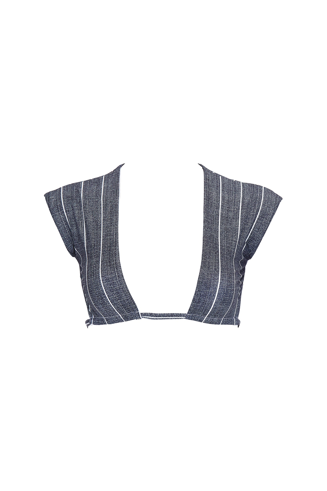 Bradley cap sleeve cropped swim top in grey pinstripe product shot front