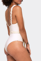 Revel Rey Daphne Belted One Piece in Almost Mauve Waffle