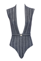 Gene plunging one piece in grey pin stripe