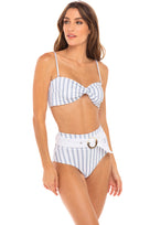 Quinn Belted Highwaist Bottom in Hampton Blue and White Stripe