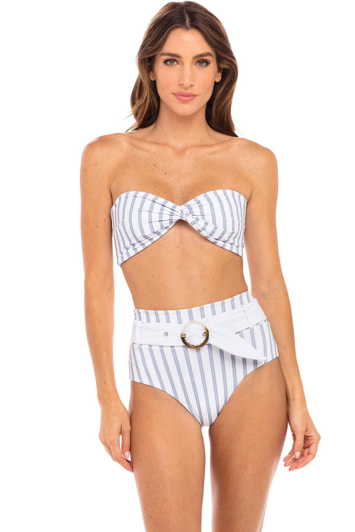 Quinn Bandeau Twist Top in Hampton Blue and White Stripe