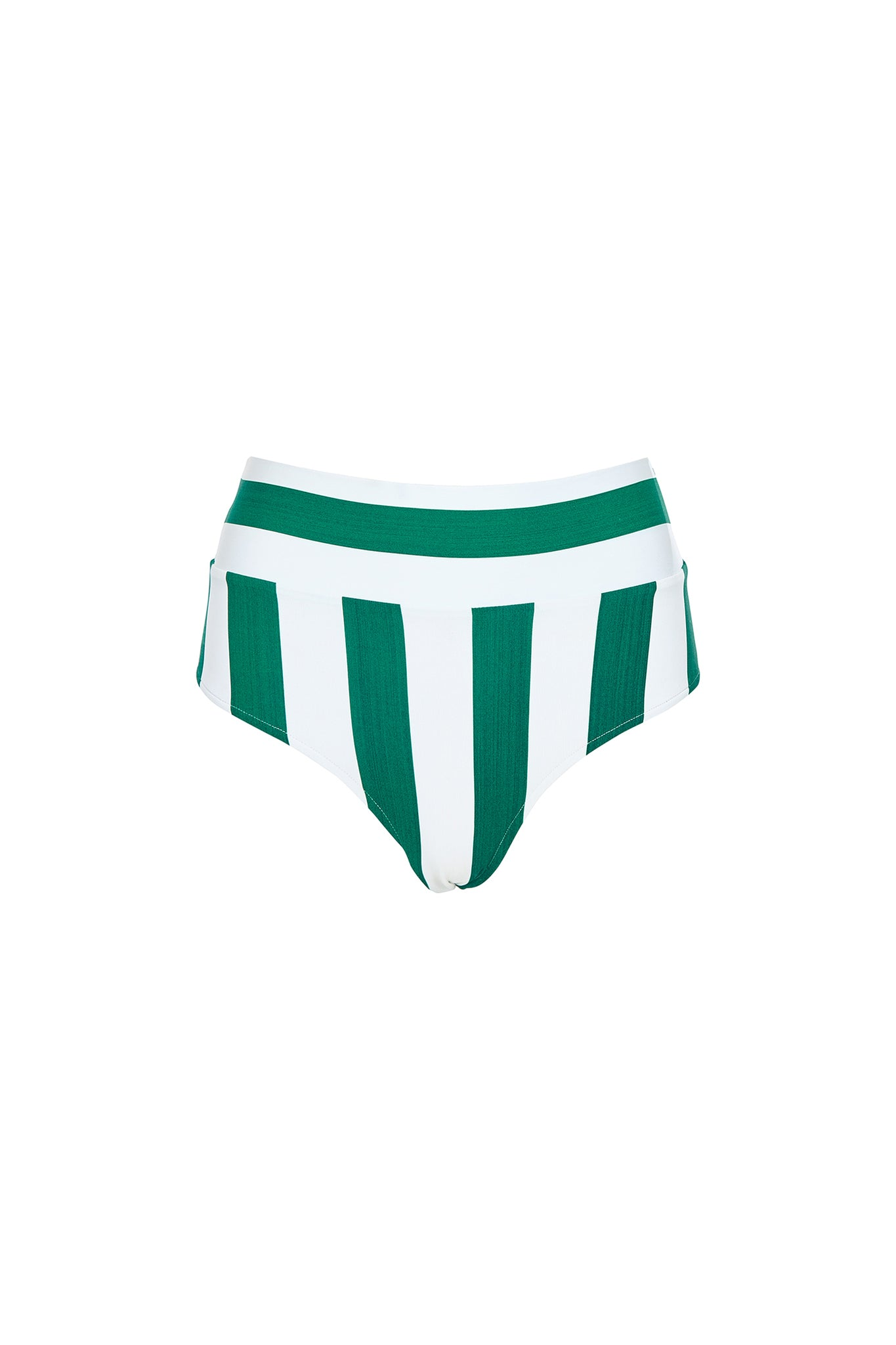 Henley high waist bottom in green and white stripe, product shot front