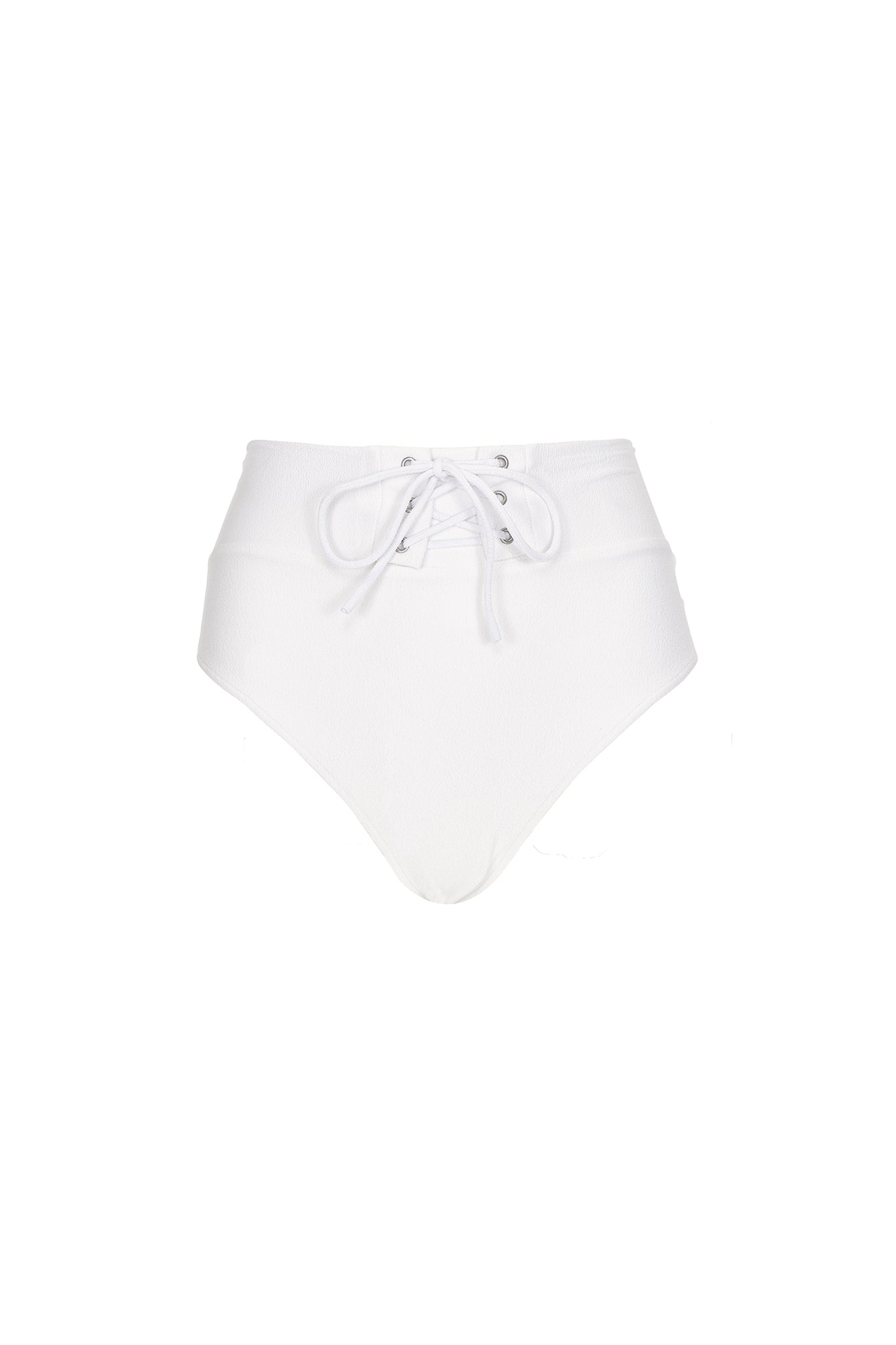 Henley high waist bottom in cream crepe, product shot back