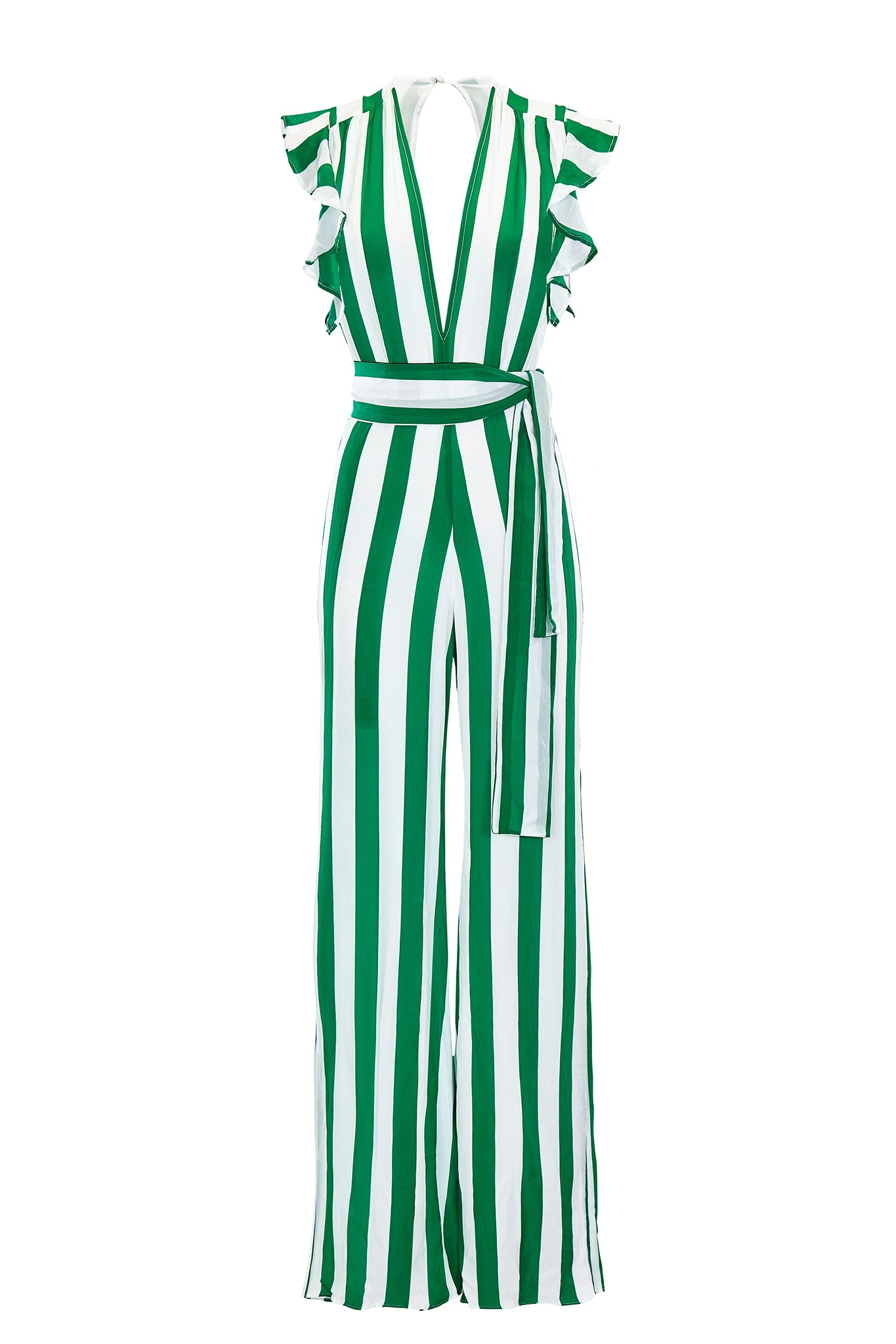 Farrah ruffle maxi sleeve jumpsuit in green and white stripe. Product shot front