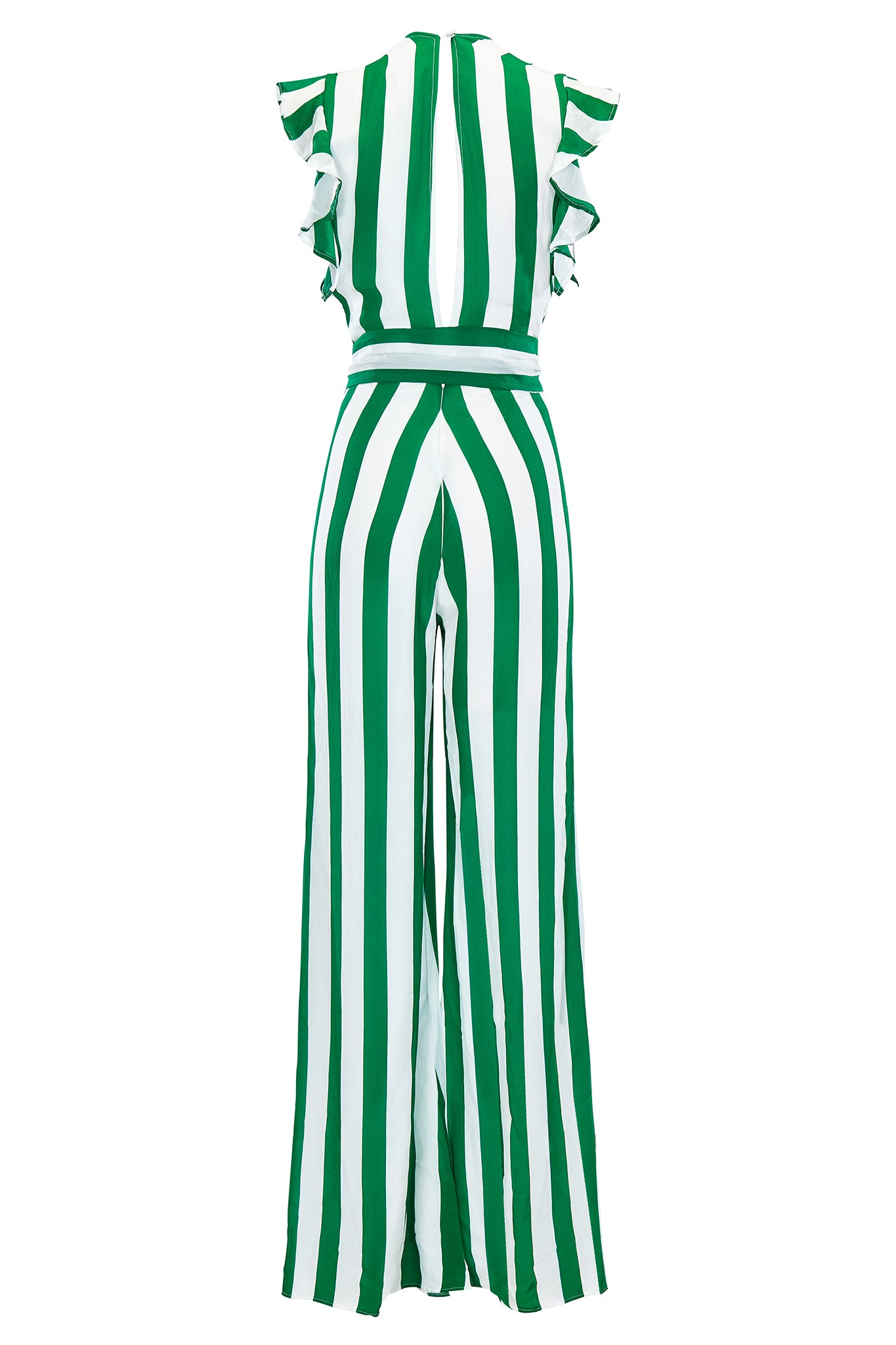 Farrah ruffle maxi sleeve jumpsuit in green and white stripe. Product shot back