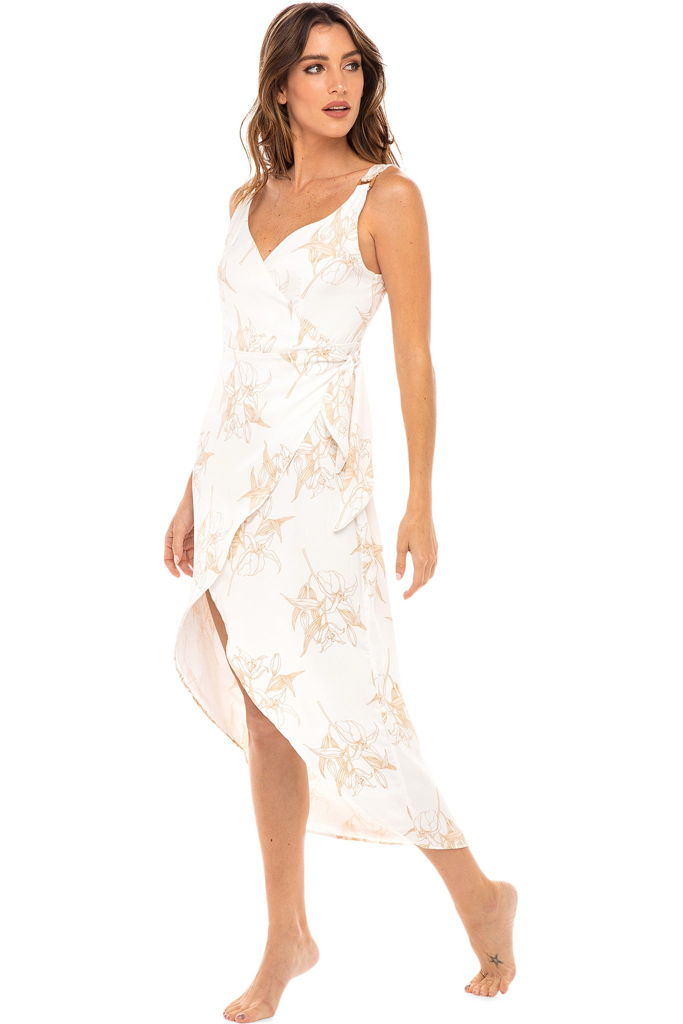 Mary Midi Dress - White Lily