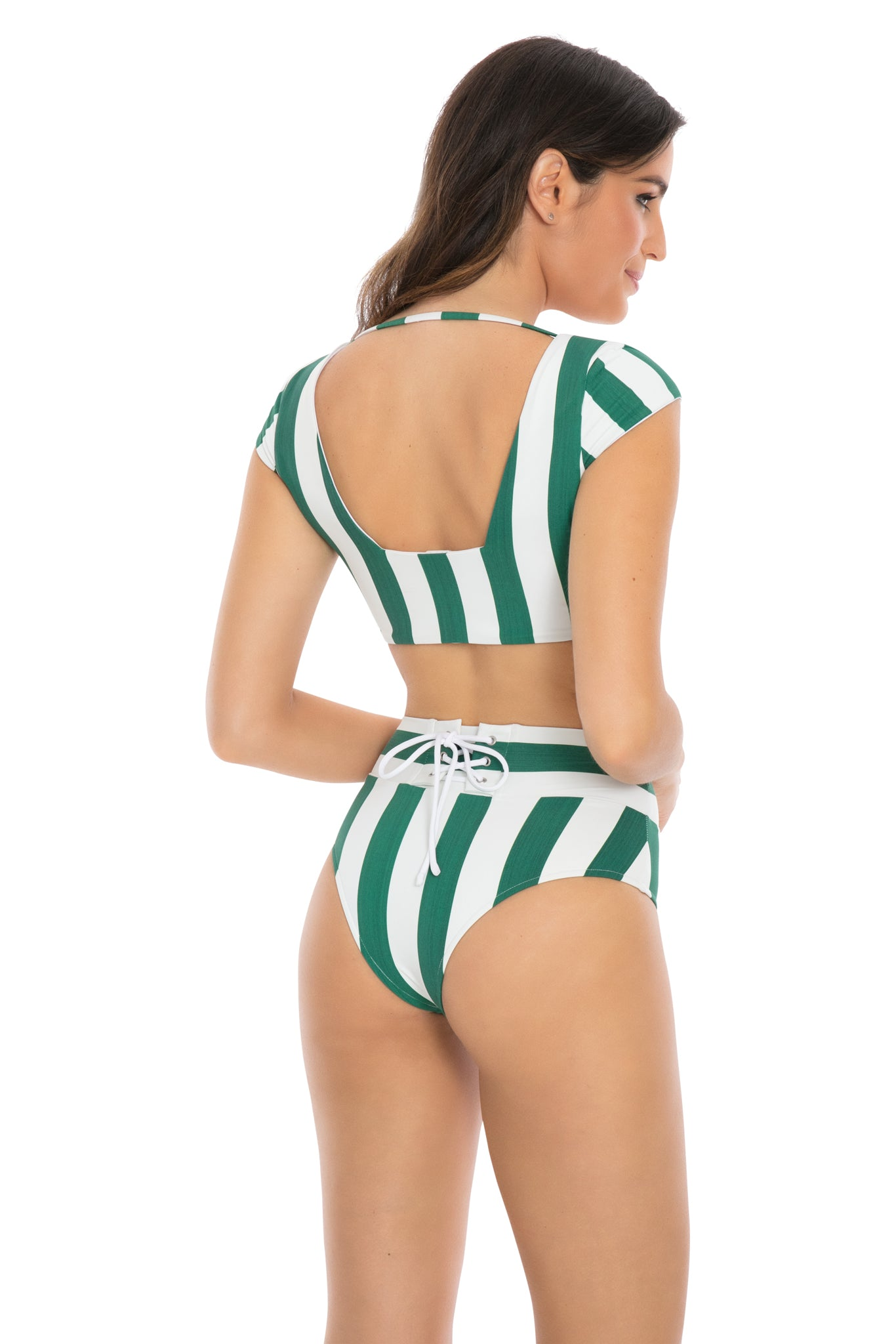 Henley cap sleeve lace-up bikini to in green stripe back view