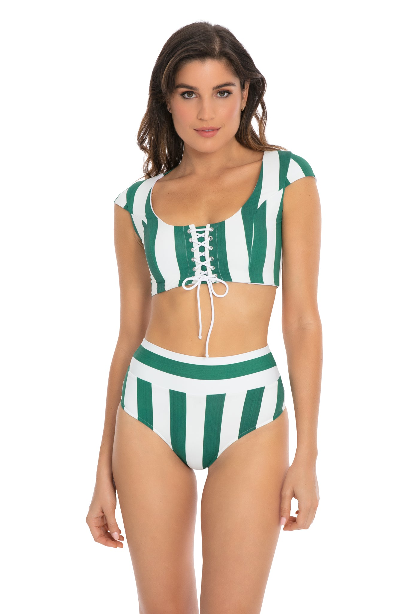 Henley cap sleeve lace-up bikini to in green stripe front view