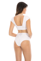 Henley high waist bottom in cream crepe back view
