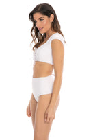 Henley high waist bottom in cream crepe side view