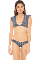 Bradley basic swim bottom in grey pin stripe model shot front