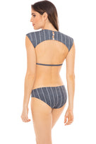 Bradley basic swim bottom in grey pin stripe model shot back